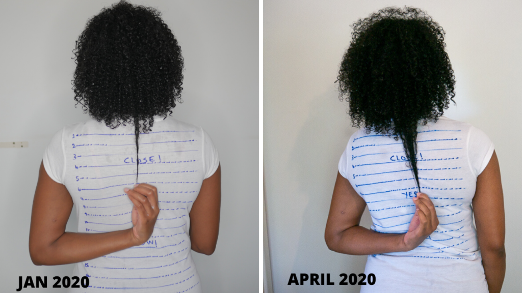Grow natural hair length check jan to april 2020