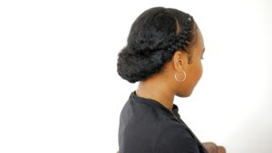 roll & tuck with braids on curly hair protective style